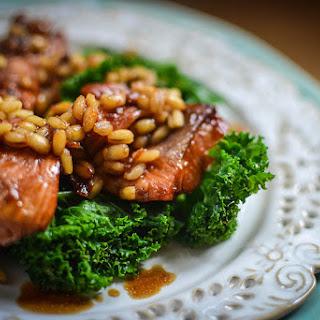 Kale and Barley Salad with Teriyaki Salmon.
