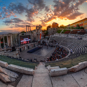 Sunset before rehearsal by Petar Shipchanov - City,  Street & Park  Historic Districts ( rehearsal, plovdiv, ancient, hdr, sunset, opera, ancient theater, amphitheatre, bulgaria, city )
