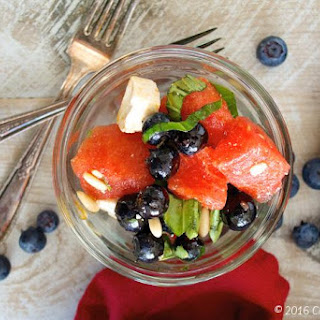 Watermelon Summer Salad with Basil and Blueberries.