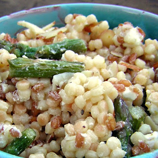 Meyer Lemon Pasta Salad with Asparagus, Almonds and Goat Cheese.