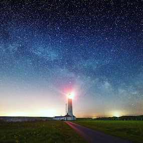 Milkyhouse  by Russell Gurdin - Landscapes Starscapes ( lighthouse milkyway stars southwales )