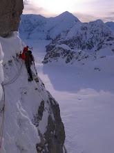 Photo: Exposed traverse on Mount Hunter