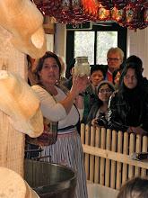 Photo: Cheesemaking demo. That's whey.