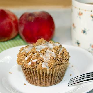 Glazed Peach Streusel Muffins