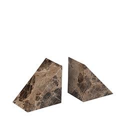 Bokstöd i marmor, Set med 2, Brun