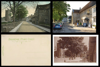 """Photo: Chagford - The Three Crowns Hotel  Left (top and bottom) - Valentines, n.57584, 1907 Right, bottom: Judges, n.6722, 1922  Viewed looking up High Street from the Square.  The Three Crowns dates back to the C13th, when it was a manor house; at some point, it became an inn called The Black Swan.  It has been said that this was the inn featured in the celebrated poem 'The Highwayman'  by Alfred Noyes (see: http://www.poemhunter.com/poem/the-highwayman/ : """"the highwayman came riding—riding—riding—The highwayman came riding, up to the old inn-door"""", a favourite of mine since I read it as a child in a Readers Digest Magazine).  The hotel has recently (June 2012) re-opened after a very lengthy, extensive (and no-doubt expensive) refurbishment. I felt obliged to sample several of the ales, by St Austell brewery, 'Proper Job' & 'Tribute', both in fine fettle, I'm happy to report.  http://threecrowns-chagford.co.uk/"""