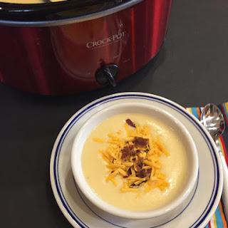 Slow Cooked Cheesy Potato Cauliflower Soup.