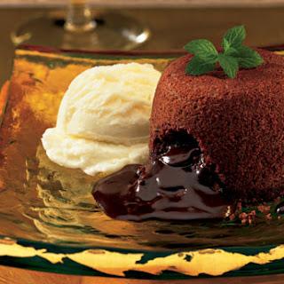 Molten Chocolate Cakes with Mint Fudge Sauce Recipe