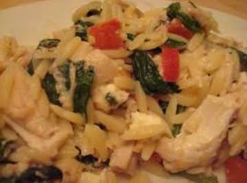 Greek Spinach and Chicken Orzo
