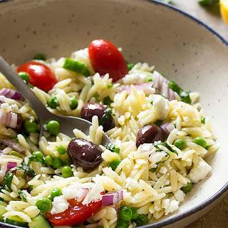 Greek Orzo Salad with Feta and Peas.