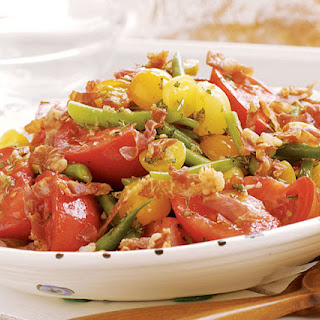 Tomato & Fresh Green Bean Salad with Crisp Prosciutto
