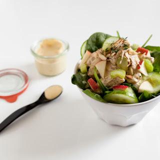 Vegan Honey Mustard Cashew Dressing and Chicken Salad.