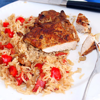 Baked Pork Chops with Tomatoes and Rice.