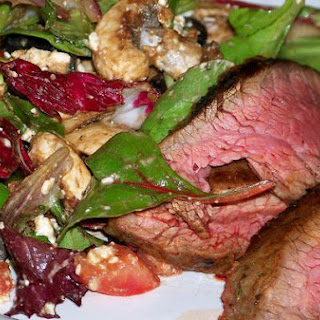 Flank Steak with Garlicky Mediterranean Salad Recipe