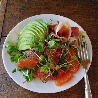 Grapefruit, Avo, and Prosciutto Breakfast Salad.