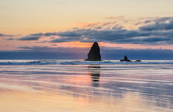 Photo: Finally a sunset  After 4+ days of attempting to take pictures at sunset with total overcast I finally got a sunset at Cannon Beach in Oregon.  It wasn't a full sunset because of the marine layer but it was still nice.