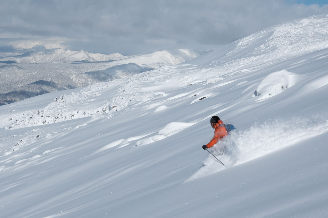 Etienne skiing some nice mellow powder