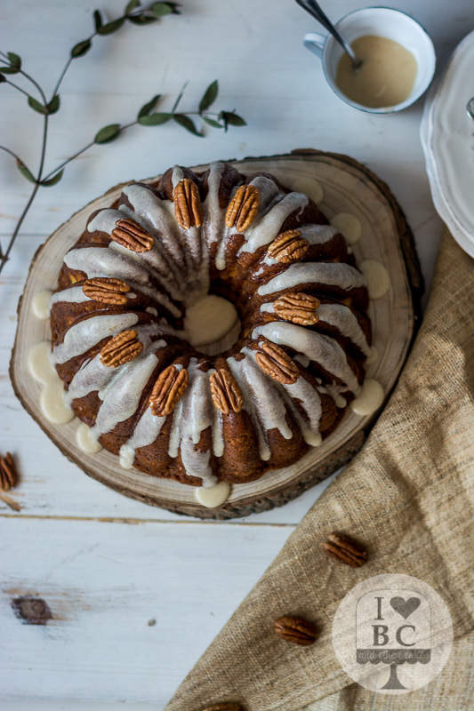 Tunnel of cream banana nut Bundt Cake