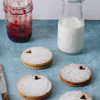 Brown Sugar Linzer Cookies with Strawberry Balsamic Jam.