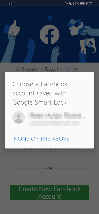 Choose a Facebook Account Saved With Google Smart Lock
