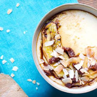 Creamy Semolina Porridge With Grilled Banana And Crunchy Coconut.