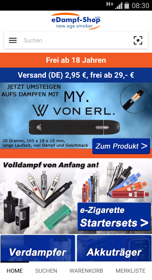 eDampf-Shop E-Zigaretten-Shop – Screenshot