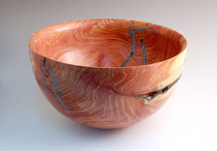 "Photo: Richard Webster -- Bowl with Inlace inlay -- 10 1/2"" x 6"" - Cedar"