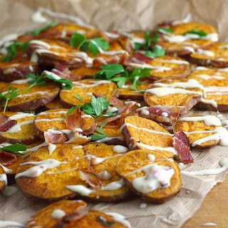 Oven Fried Sweet Potatoes with Maple Bacon Mayo