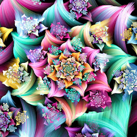 Rosette Spiral by Peggi Wolfe - Illustration Abstract & Patterns ( digital, gift, color, wolfepaw, bright, pattern, spiral, abstract, décor, print, unique, fractal, illustration, unusual, fun )
