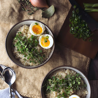 Savory Sprouted Grain Breakfast Porridge with Soft Cooked Egg {Gluten-free}.