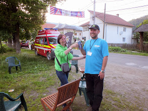 Photo: The race medic and one of the organisers celebrating the end of the second stage.