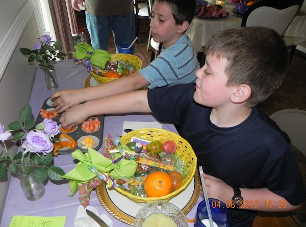 """Nephews are ready to try all the different """"orange"""" colored different items in the..."""