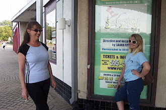 Photo: Cynthia & Katie in front of the Seussical poster
