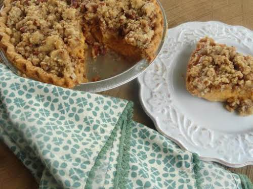 """Pumpkin Pie with Cinnamon-Pecan Topping """"My husband liked the idea of the..."""