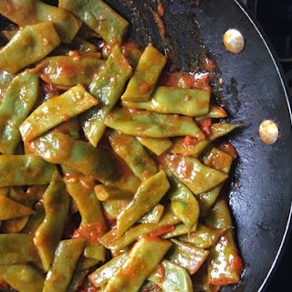 Braised Romano Beans With Tomatoes.