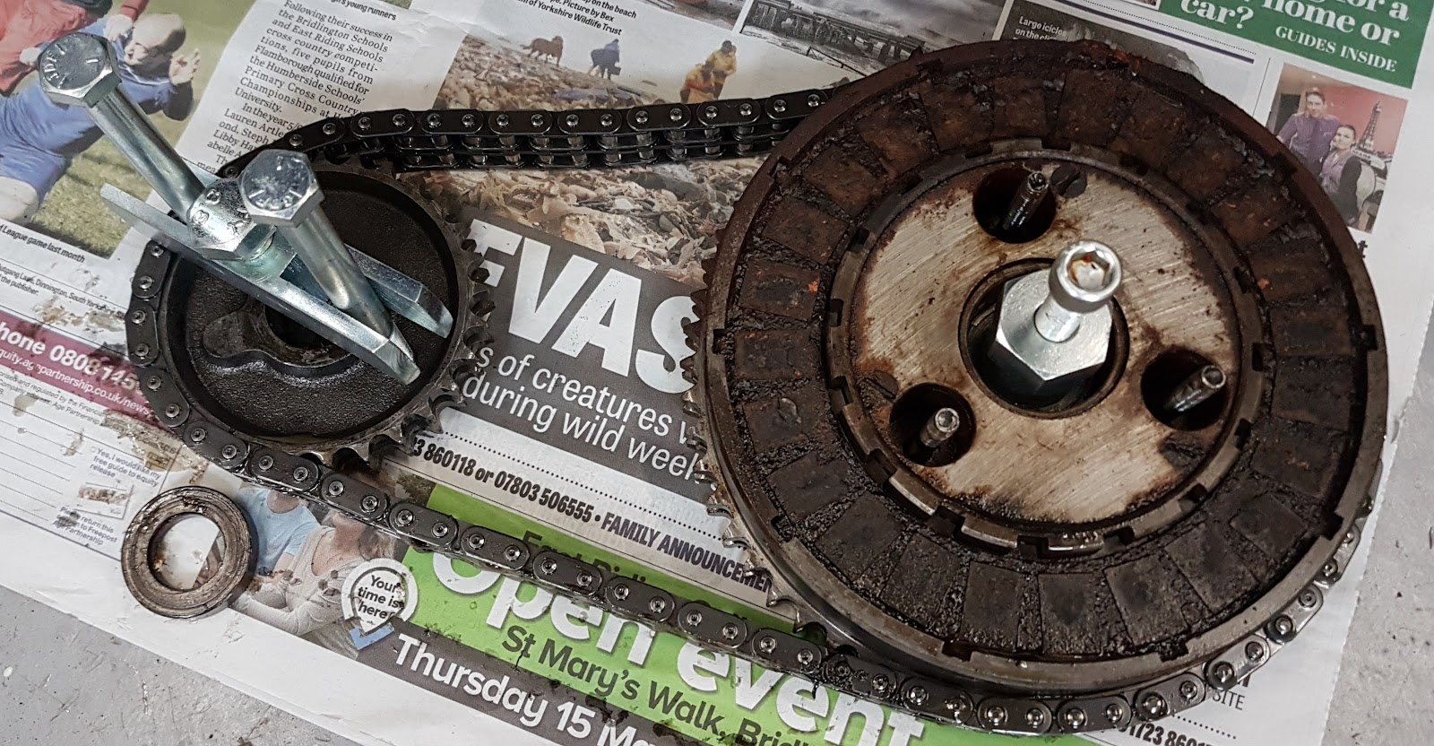 Clutch, front sprocket and chain removed from a Triumph Bonneville T120.