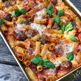 No-Boil Baked Ziti With Bison Meatballs.