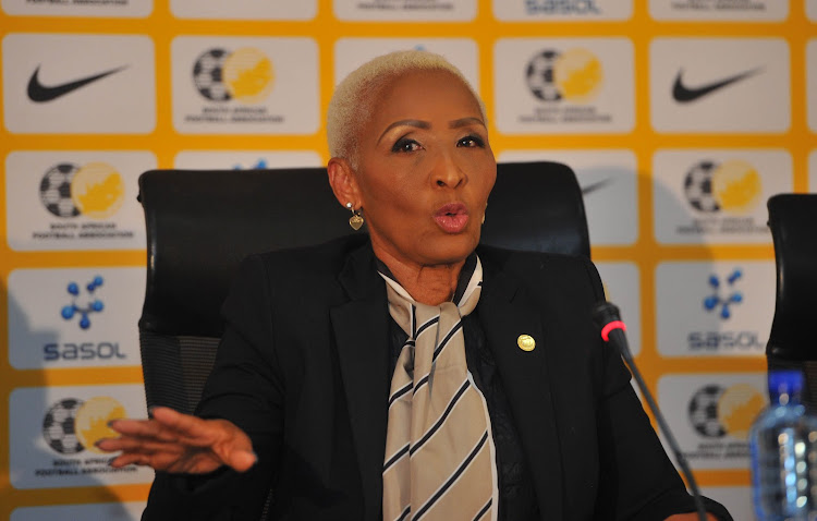 Ria Ledwaba SAFA Vice President during the SAFA celebratory Press conference on 13 June 2018 at SAFA House.