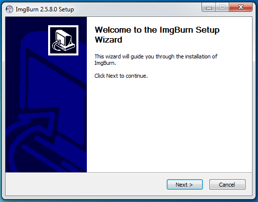 Click next to start ImgBurn setup