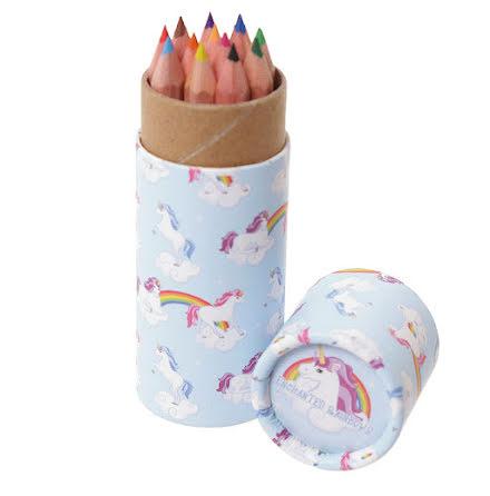 Pennburk med färgpennor - enhörning