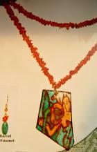 Photo: Copper enamel pendant, barrel, jade, carnelian, 14K gold vermeil  SOLD/ПРОДАНИЙ