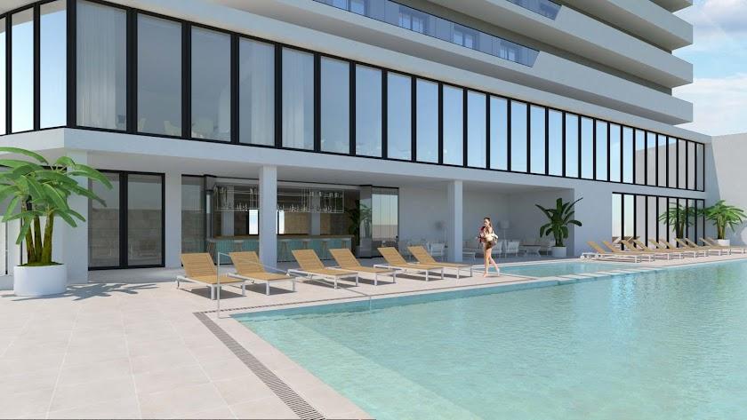 Imagen   virtual del hotel proyectado por Playa Senator.