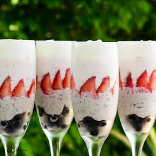 Red, Blue and White Chocolate Mousse.