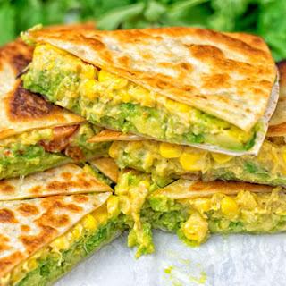 Cheesy Corn and Smashed Avocado Quesadillas [Vegan] Recipe