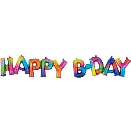 Folieballong - Happy b-day, regnbåge