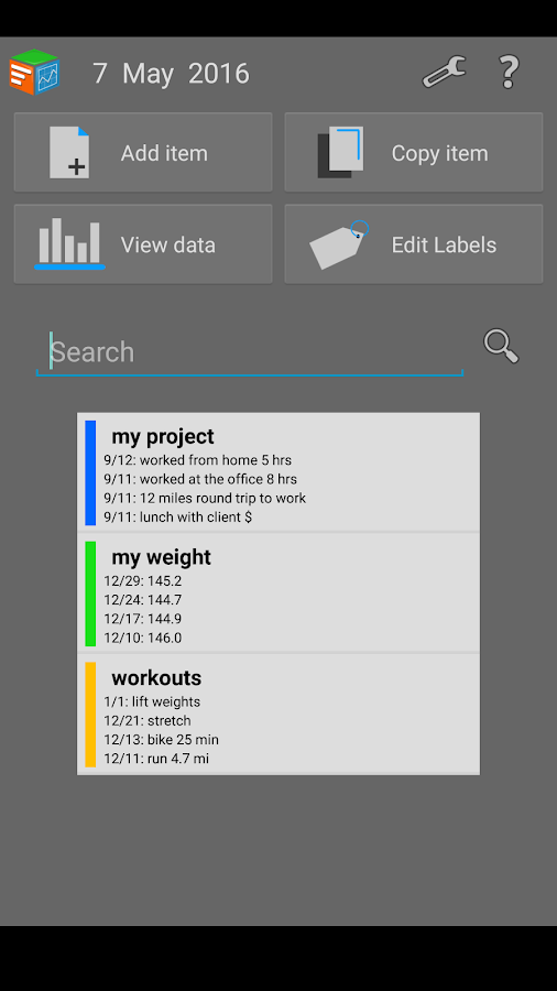 Trackit Notebook- screenshot