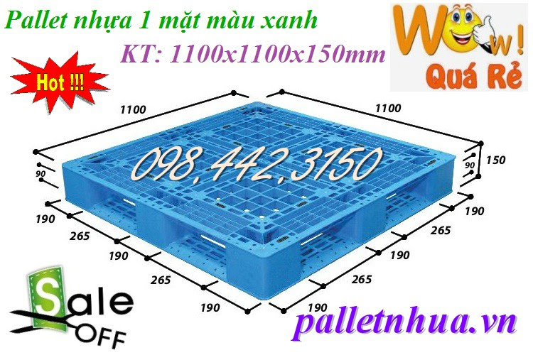 Pallet nhựa tải trọng trung bình 1100x1100x150mm