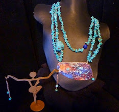 Photo: <BEREHYNYA> {Great Goddess Protectress} unique one-of-a-kind statement jewellery by Luba Bilash ART & ADORNMENT  SUPERNOVA ~ СУПЕРНОВА - copper enamel pendant, African turquoise, lapis lazuli, rose gold vermeil SOLD