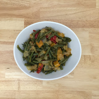 Sauteed Green beans with Bell Pepper and Onion in Bacon fat