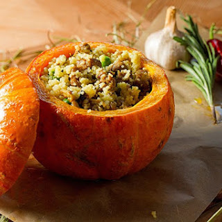 Pumpkin Stuffed with Herbed Apple Couscous.